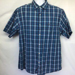 Nautica Men's Casual Shirt Blue Plaid L